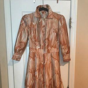 Vintage PRADA dress size 38 color cognac &beige